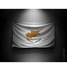 Waving flag cyprus on a dark wall vector