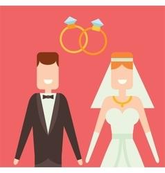 Wedding couple cartoon style vector