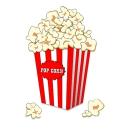 Pop corn in large striped paper box fast cinema vector