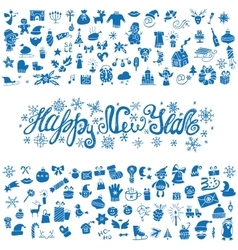 New year greeting cardicons silhouetteblue vector