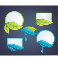 Fresh leaves and water drops nature labels vector
