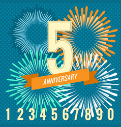 Fireworks and numbers anniversary banners vector