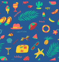 Seamless pattern with summer beach objects vector