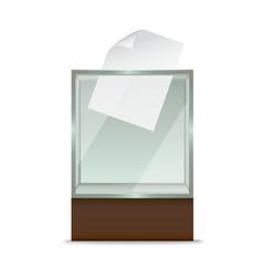 Realistic glass ballot box vector