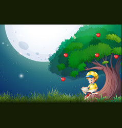 Boy reading book under apple tree vector