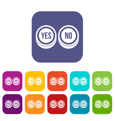 Round signs yes and no icons set vector