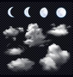 moon and clouds on transparent background vector image