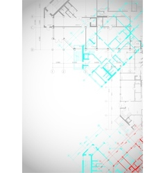 Gray architectural background with building plans vector image