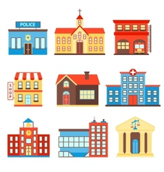Government buildings icons vector