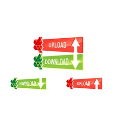 Origami upload download button set vector