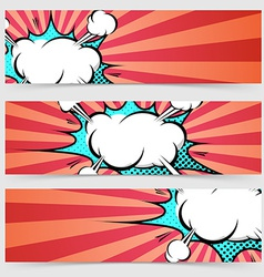 Pop art ray light style header footer collection vector