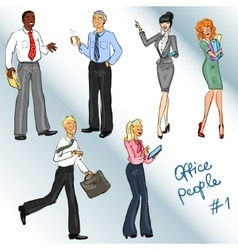 Office people hand drawn clip art vector