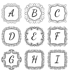 Monogram set hand drawn style in black and white vector