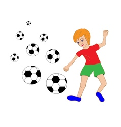 Boy and soccer balls vector