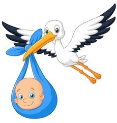 Cartoon bird stork with baby vector