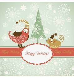 Funny bird and cat for greeting card vector