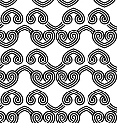 Black and white overlapping hearts in row vector