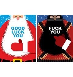 Christmas cards Good Santa Claus and angry vector image