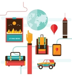 Tourism and travel set of modern flat design vector