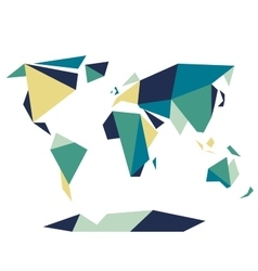 Low polygonal origami style world map abstract vector
