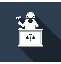 Judge with gavel icon with long shadow vector