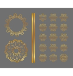 Traditional golden decor on gray background vector