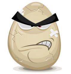 Angry egg character vector