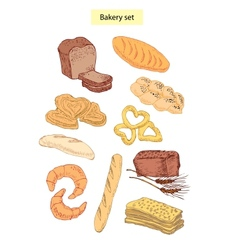 Bakery food set vector