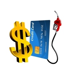 Bank card with gas pump nozzle and dollar sign vector