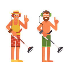 beach treasure hunter with metal detector vector image
