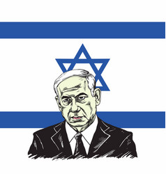 benjamin netanyahu with israel flag background vector image vector image