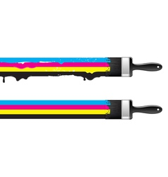 Brushes with cmyk paint vector image vector image