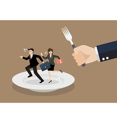 Business people run away from big hungry man vector