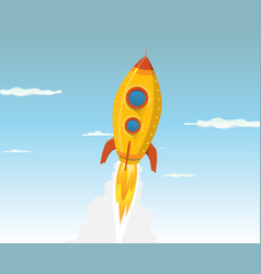 cartoon gold space ship vector image vector image