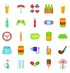 Compulsive gambling icons set cartoon style vector