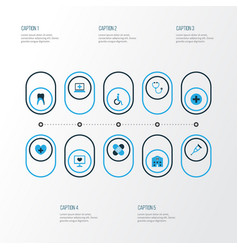Drug colorful icons set collection of listener vector