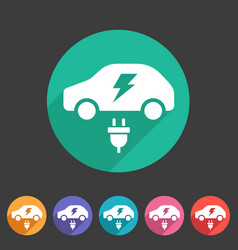 Electric car icon flat web sign symbol logo label vector