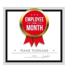 Employee of the month certificate template vector