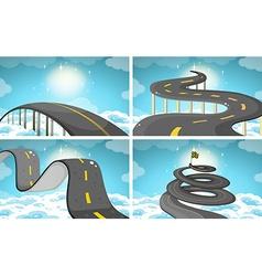 Four scene of roads in the sky vector