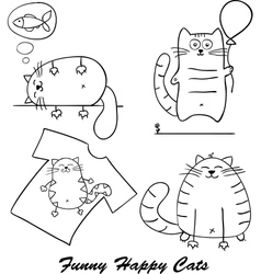 Funny cartoon cats silhouette for your design vector image