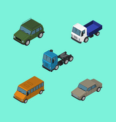 Isometric transport set of lorry truck auto and vector