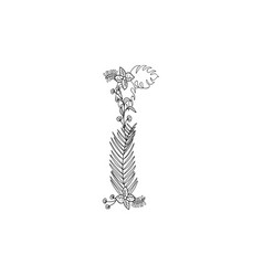 letter i floral ornament vector image
