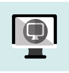 monitor pc with social marketing isolated icon vector image vector image