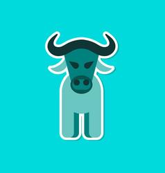 paper sticker on stylish background cartoon bull vector image vector image