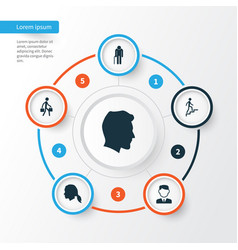 people icons set collection of male ladder vector image vector image