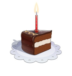 Piece of chocolate cake with vector image vector image