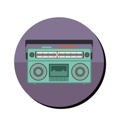 Radio stereo with tape player in round frame vector