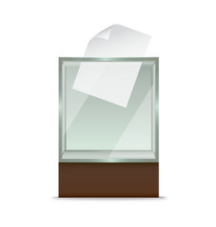 Realistic glass ballot box vector