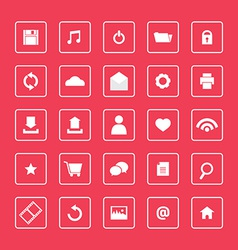 Red and White Website Icons Set vector image vector image