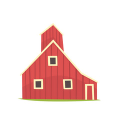 Red barn house wooden agricultural building vector